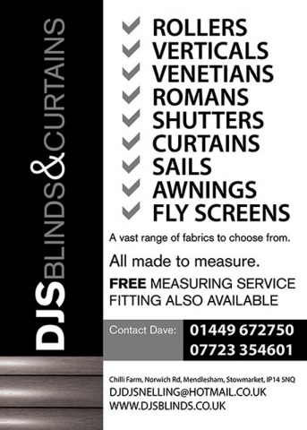 DJS Blinds Portrait Advert