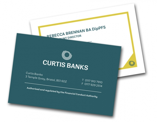 Curtis Banks business card for multiple staff members and offices