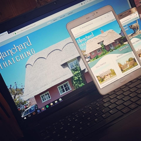 Blanchard Thatching website design, hosting & email with Facebook page to match